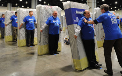 A New World Record For The Largest Human Mattress Dominoes